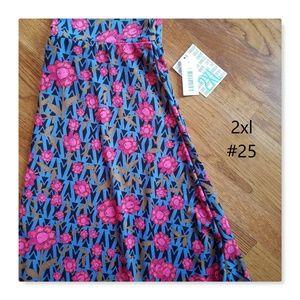 LuLaRoe Blue and pink Floral Azure skirt SPRING